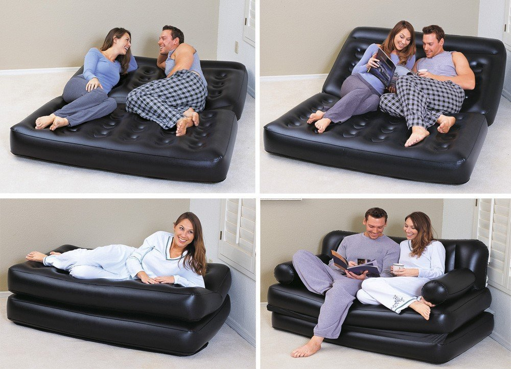 HSR 5 in 1 Inflatable Three Seater Queen Size Sofa Cum Bed with Free Air Pump